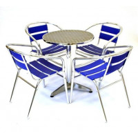 Blue Aluminium Table & Chair Set